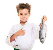 Little boy chef in uniform Royalty Free Stock Photo
