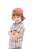 Little boy in chequered summer clothes Royalty Free Stock Image