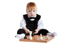 Little boy with chess Royalty Free Stock Photo