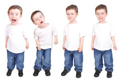 Little Boy Child Expressions of Personality. A young child on a white isolated background with various personality traits from happy, sad, curious and mad. The Royalty Free Stock Images