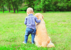 Little boy child and Golden Retriever dog together outdoors, summer park royalty free stock photos