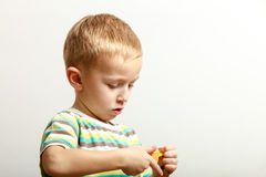 Little boy child playing with building blocks toys interior. Stock Photography