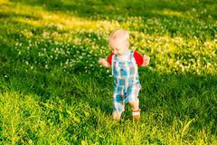 Little Boy Child Running On Green Meadow Royalty Free Stock Photo