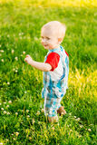 Little Boy Child Running On Green Meadow Stock Images