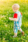 Little Boy Child Running On Green Meadow Stock Photo