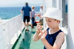 Little boy child in white hat on summer vacations Stock Photos