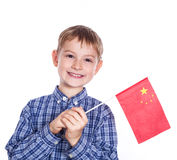 A little boy with chinese flag Stock Image
