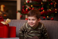 Little boy at christmas Royalty Free Stock Photos