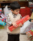 Little boy on Christmas Stock Images