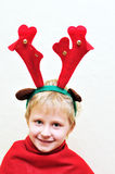 Little boy with christmas antlers Stock Photography