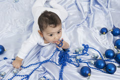 Little boy with Christmas decoration. Having fun Stock Images