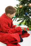 Little Boy with Christmas Gift Royalty Free Stock Image