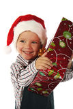 Little boy with Christmas gift Stock Image