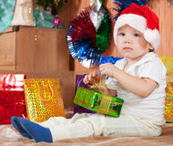 Little boy  with Christmas gift Royalty Free Stock Photo