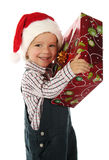 Little boy with Christmas gift box Royalty Free Stock Photography