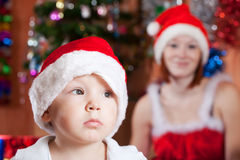Little boy in Christmas hat Royalty Free Stock Photo