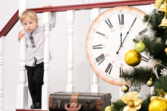 Little boy in christmas interior Stock Photos