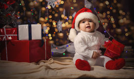 Little boy in Christmas Santa's hat Stock Photo