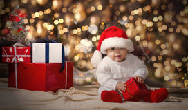 Little boy in Christmas Santa's hat Royalty Free Stock Photo