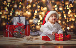 Little boy in Christmas Santa's hat Stock Photography