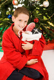 Little Boy and Christmas Stocking Royalty Free Stock Photography