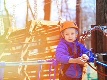 Little boy climbing in adventure activity park Royalty Free Stock Photos