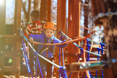 Little boy climbing in adventure activity park Stock Image