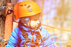 Little boy climbing in adventure activity park Royalty Free Stock Photography
