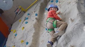 Little boy climbing a rock wall in a harness indoor. Concept of sport life. Little boy climbing a rock wall indoor. Concept of sport life stock video