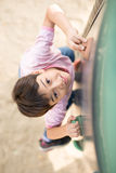 Little boy climping up brave  playground Royalty Free Stock Photos