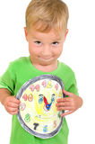 Little boy with a clock Stock Photos