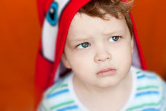 Little boy closeup look strong Royalty Free Stock Images