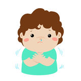 Little boy with a cold shivering cartoon . Little boy with a cold shivering  cartoon illustration Stock Images