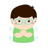 Little boy with a cold shivering cartoon . Royalty Free Stock Photo