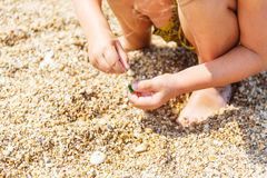 Little boy collects pebbles Stock Image