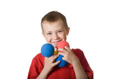 Little boy with colored balls - puppeteer Royalty Free Stock Photos