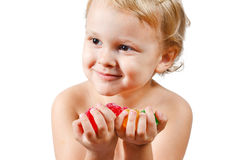 Little boy with colored jelly candies Stock Photography