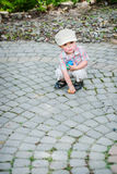 Little Boy With Colorful Easter Eggs Royalty Free Stock Photography