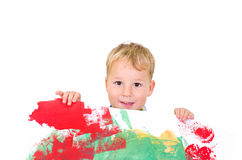 Little boy with a colorfull picture Royalty Free Stock Images