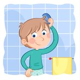 Little boy combing his light brown hair - Daily routine action. Lovely illustration of a little boy - jpg file - 300 dpi - rgb Royalty Free Stock Photo
