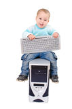 Little boy on  the computer Stock Image