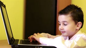 Little boy at the computer stock footage