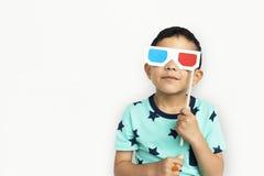 Little Boy con il concetto di vetro 3D Fotografie Stock