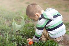Little Boy con los huevos de Pascua Fotos de archivo libres de regalías