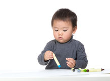 Little boy concentrate on drawing Stock Image