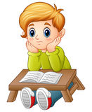 Little boy confused read a book. Illustration of Little boy confused read a book royalty free illustration