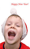 Little boy congratulates with Happy new year Royalty Free Stock Photo