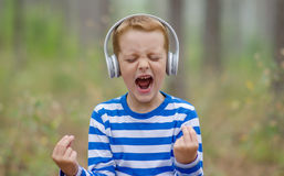 Little Boy considerável que grita Imagem de Stock Royalty Free