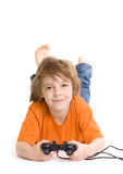 Little boy with console controller Stock Image