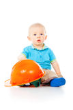 Little boy with construction helmet Stock Images